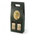 Caja de Cartón color Verde con 2 botellas - Desde 50 cl. hasta 1l.