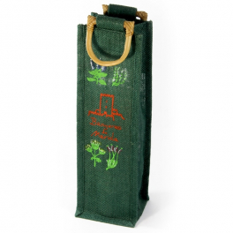 """Bolsa de yute """"Verde"""" con 1 botella - Desde 50 cl. hasta 1l."""